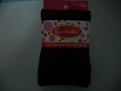 Sweetcakes One Pair Black Fleeced Footless Sparkle Tights Size Small Medium