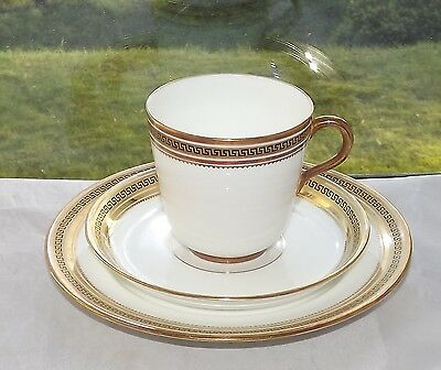 Staffordshire Porcelain Greek Key Pattern 4825 WhiteTrio Cup Saucer Plate