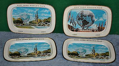 Lot of 4 Vintage 1964-1965 New York World's Fair Metal Advertising Trays