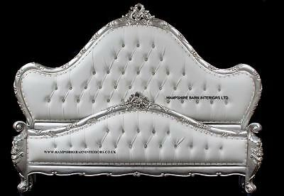 French Charles Silver Leaf Bed Crystals White Faux Leather Crystals choice size