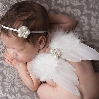 Newborn Baby Infant Feather Angel Wing Photography Props Headband Outfit Costume