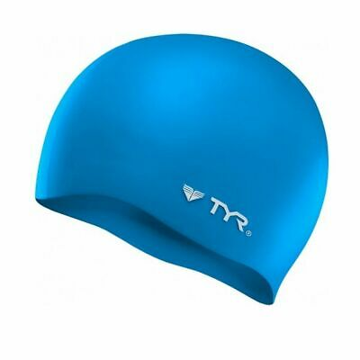 TYR Wrinkle Free Silicone Swim Cap-Blue-Swimming-Hat-Race-New
