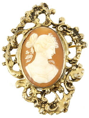 """Antique Victorian Sterling Shell Dark Early Color Diana Ornate Cameo Pin 2.25"""""""