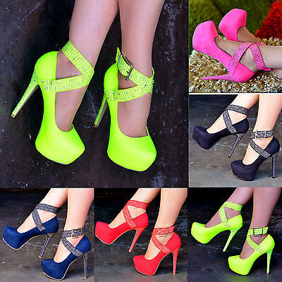 Ladies Suede Studded Ankle Strap Shoes Platform Stiletto High Heels Pumps S30367