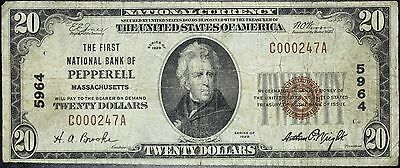 1929 National Currency $20, First National Bank of Pepperell, MA