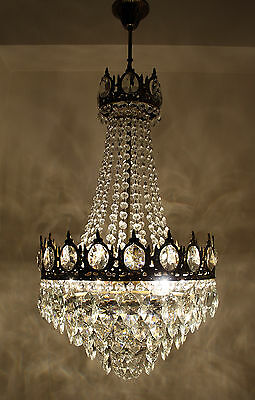 Antique French Basket Style Brass & Crystals LARGE gold tone Chandelier 1950 's