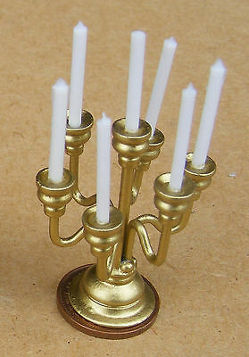 1:12 Scale Non Working 7 Arm Metal Candelabra Dolls House Miniature Lights