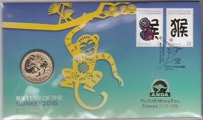 2016 Christmas Island Year of the Monkey PNC, Numbered GOLD ANDA OVERPRINT, RARE