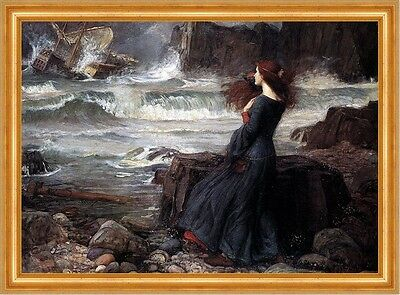 Miranda The Tempest Sturm Meeresbrandung Schiff Shakespeare Waterhouse A3 43