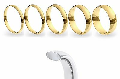 9ct 375 Yellow Gold Court Shaped Ladies & Gents Wedding Ring Band UK Hallmarked