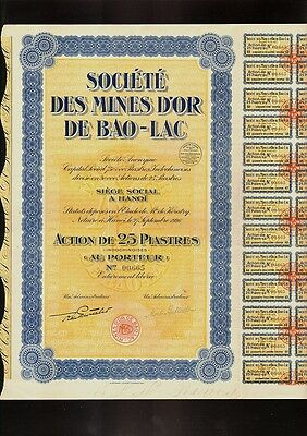 INDOCHINA / VIETNAM  GOLD MINING Mines d'Or de Bao Lac Hanoi 1926  dividend coup