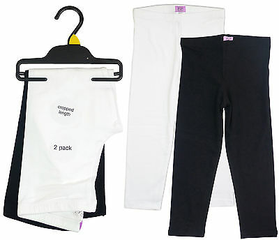 Girls Pack of Two Stretch Crop ¾ Leggings Black & White AGE 5-6 Years