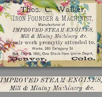 1800's Denver Steam Engine Walker Mining Machinery Iron Foundry Business Ad Card
