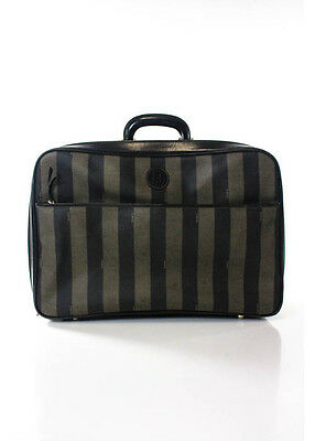 VINTAGE FENDI Brown Coated Fabric Requin Stripe Gold Tone Leather Trim Suitcase