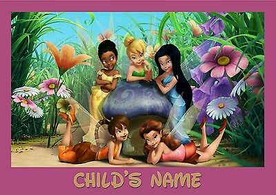 Childrens/Kids A4 Disney Fairies dinner mat / place mat. Personalised