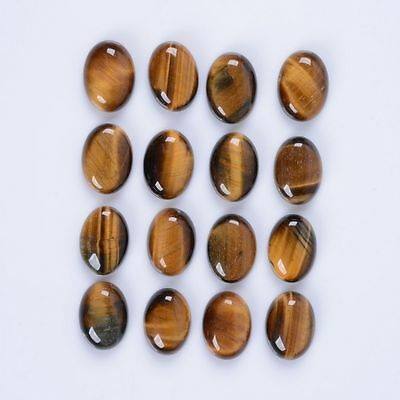 A PAIR OF 10x8mm OVAL CABOCHON-CUT NATURAL AFRICAN GOLDEN TIGERS-EYE GEMSTONES