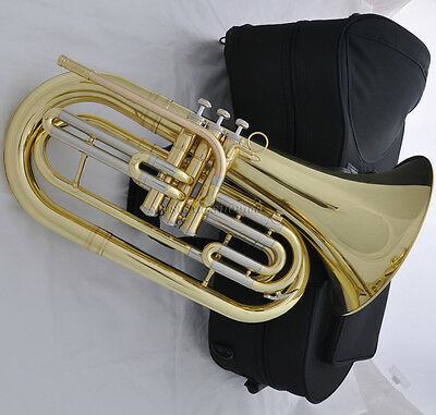 Professional gold Bb Marching Baritone Horn with new case