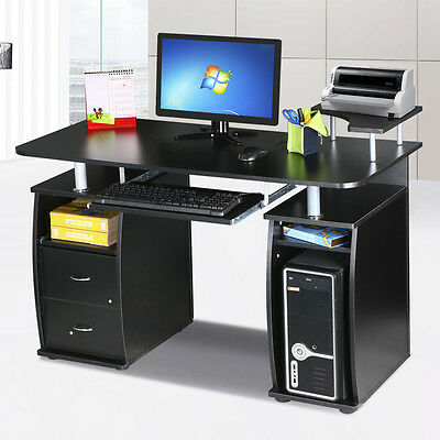 Black Computer Desk Cupboard &Shelves Drawers Furniture for Home Office PC Table