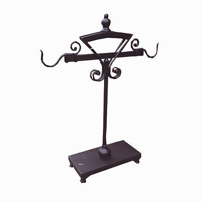 Rustic Dark Brown Metal Small Craft Hook Stand Display Vintage Indoor Home Deco