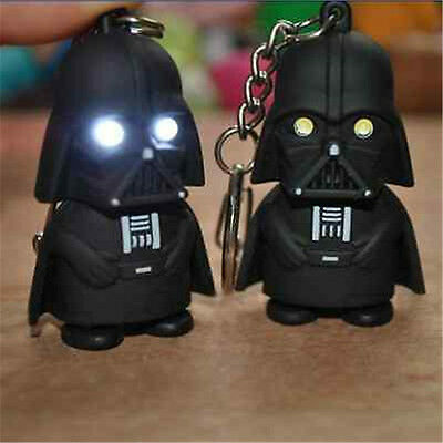 Black Star Wars Darth Vader Figurine LED Flashlight Sound Torch KeyChain Keyring