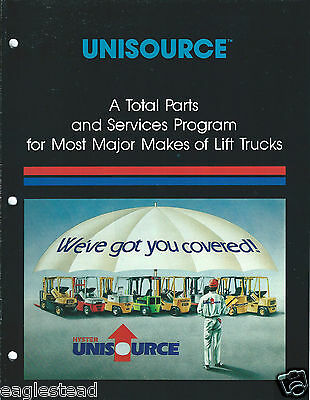 Fork Lift Truck Brochure - Hyster - Unisource Spare Parts Program c1987 (LT251)