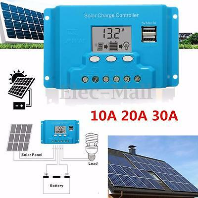 10A 20A 30A LCD Solar Panel Battery Regulador Dual USB Charge Controller 12V/24V