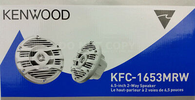 "Kenwood KFC-1653MRW White 300 Watts 6-1/2"" 2-Way Marine Boat Audio Speakers 6.5"""