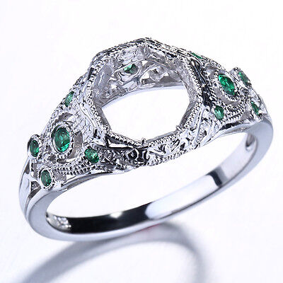 NICE! 925 Silver 8MM Round Cut Vintage Antique Semi Mount Wedding Women's Ring