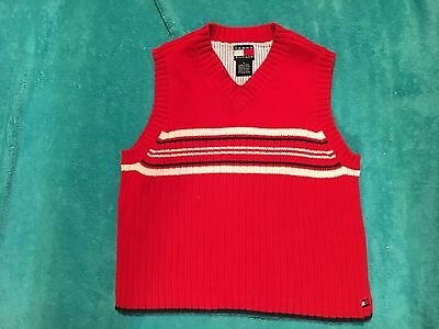 91c394007 TOMMY HILFIGER BOY S Red   Blue   White Striped V-Neck Sweater Vest ...