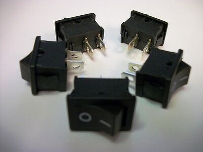 Lot of 5 - SPST On/Off 2-Pin Mini Rocker Switch - 6A @ 125VAC / 3A @ 250VAC