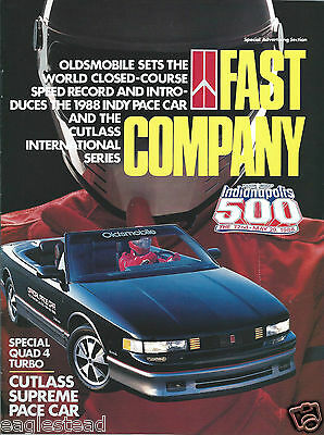 Auto Brochure Oldsmobile Cutlass Supreme Pace Car Indy 500 Aerotech 1988 (AB896)