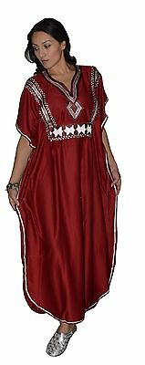 Moroccan Caftan kaftan Handmade Abaya Swim Cover lounge wear maxi Dress Burgundy