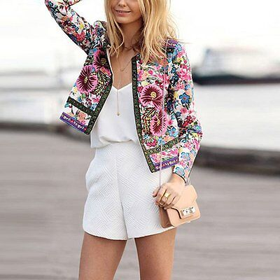 Fashion Women Floral Slim Casual Spring Blazer Suit Jacket Coat Outerwear Tops
