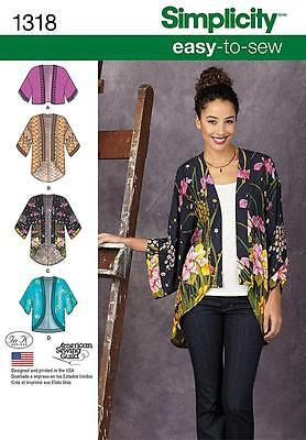 Simplicity SEWING PATTERN 1318 Misses Easy To Sew Kimono Jackets XXS-XXL