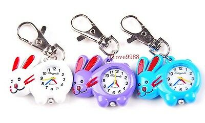 New 10 pcs Fashion Rabbit design Key Ring pocket Watches gifts USK48