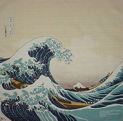 Furoshiki Wrapping Cloth Japanese Fabric Hokusai's 'The Great Wave' Cotton 48cm