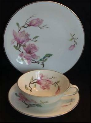 H&G Bavaria Vintage Pink Floral 3 Piece Luncheon Set Cup Saucer & Plate