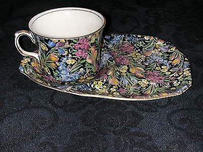 Royal Winton Grimwades Black Chintz Coffee Cup and Snack Tray Floral