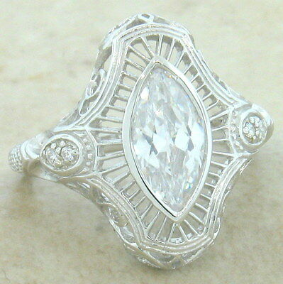 Antique Filigree Style 925 Sterling Silver Cz Ring Size 8,               #862
