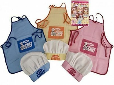 New Children's Boys Girls Chef Set Hat And Apron Blue, Yellow Or Pink
