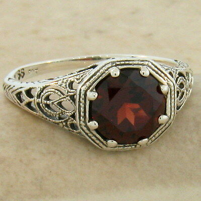Genuine Garnet Art Deco Antique Style 925 Sterling Silver Ring,             #869