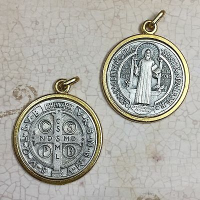 Saint Benedict Exorcism Protection Medal Pendant Gold Silver Tone 1-1/2 Inch