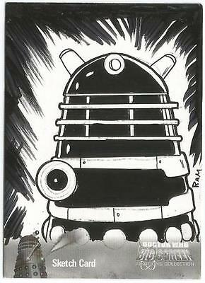 Dr Doctor Who Big Screen Additions Mono Sketch Card by Rich Molinelli - Dalek
