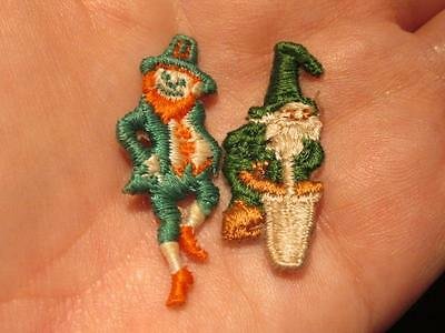 Leprechaun & Wizard Pair of Small Embroidered St Patrick's Day Themed Patches