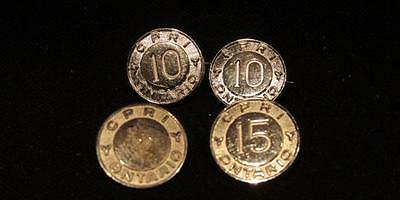 CPRI Ontario Group of 4 Year Pins Birks Sterling 2 X 10, 1 X 15 & 1 X 20