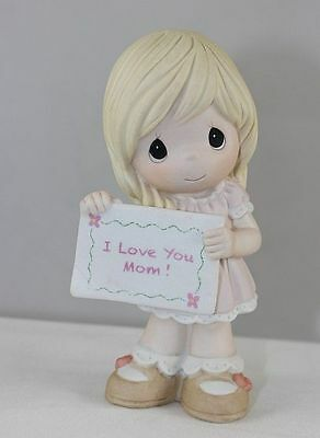 """Precious Moments - Girl Holding """" I Love You Mom """" Sign or Card"""