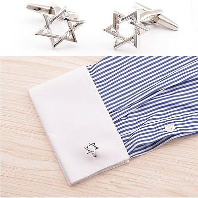 New Silver Stainless Star of David Men's Cuff Links Business Gift Cufflinks UU11