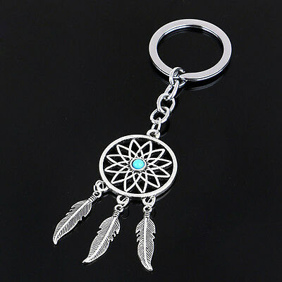 New Dream Catcher Feather Tassels KeyChain Silver Metal Keyring Key Ring Chain