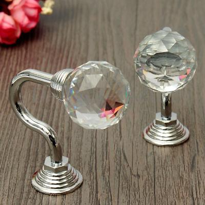 2/4/6 Vintage Round Crystal Chrome Curtain Tie Back Hook Blinds Tassel Wall Hook
