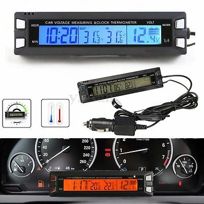 Car Thermometer Temperature Voltage Monitor Battery Alarm Digital Clock Display